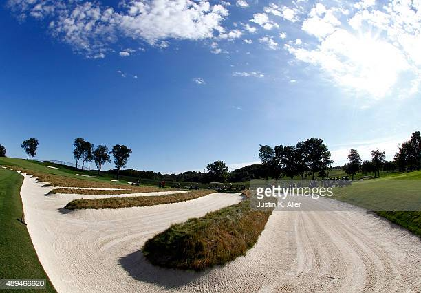 The Church Pew bunkers are shown between the 3rd and 4th fairways during the 2016 US Open Media Day at Oakmont Country Club on September 21 2015 in...