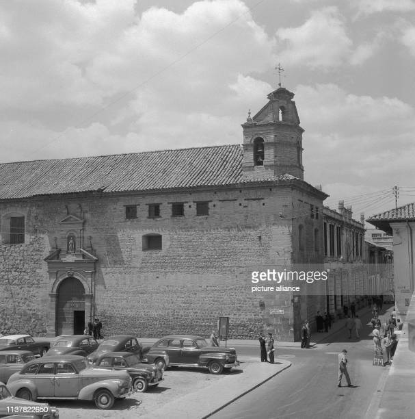 The church stands at an important road crossroads in the city's business center Bogota Colombia 1958 | usage worldwide