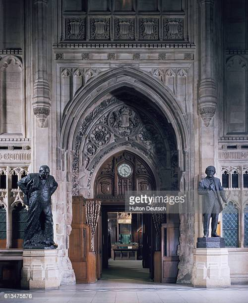 The Churchill Arch at the House of Commons London England The Speakers chair is visible through the Arch On one side stands a statue of Winston...