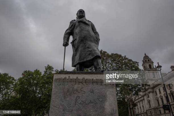 """The Churchill statue in Parliament Square that had been spray painted with the words """"was a racist"""" on June 08, 2020 in London, England. Outside the..."""