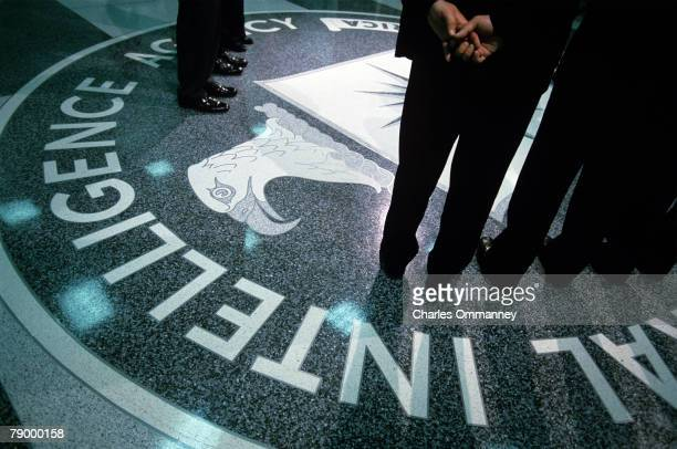 The CIA symbol is shown on the floor of CIA Headquarters July 9 2004 at CIA headquarters in Langley Virginia Earlier today the Senate Intelligence...