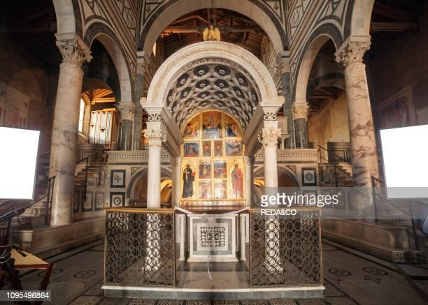 The Ciborio, San Miniato al Monte church, St Minias on the Mountain, Via delle Porte Sante street Florence, Tuscany, Italy, Europe.