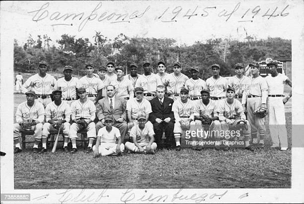 The Cienfuegos Baseball Club of Havana, Cuba, the champs of the 1945-46 winter league, poses for a team photo at the start of the 1945 season. Among...