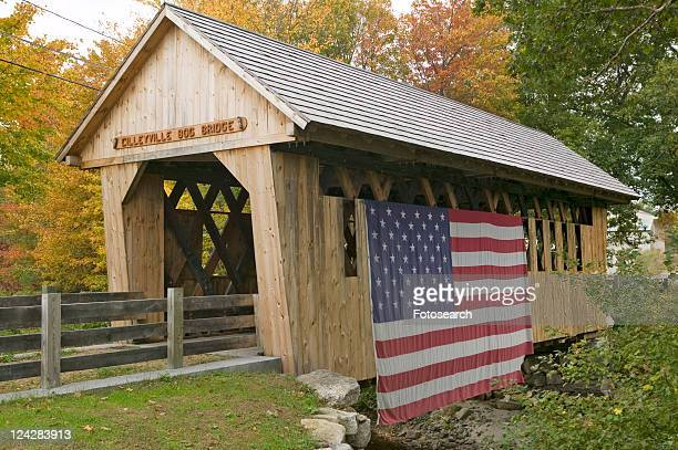 the cilleyville bog covered bridge in andover, new hampshire - covered bridge stock photos and pictures