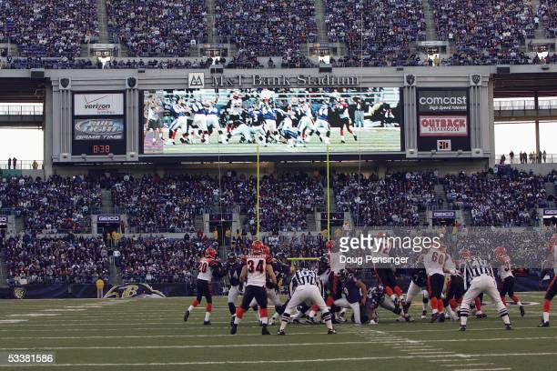 The Cincinnati Bengals defense reacts to kicker Matt Stover of the Baltimore Ravens and his field goal attempt at MT Bank Stadium on December 5 2004...
