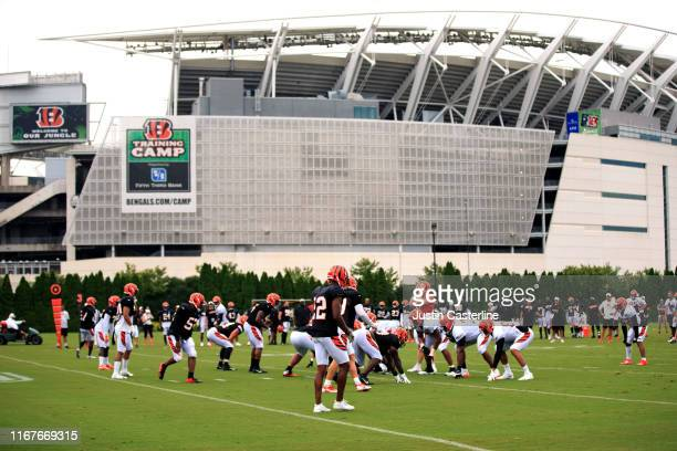The Cincinnati Bengals during training camp at Paul Brown Stadium on August 12, 2019 in Cincinnati, Ohio.