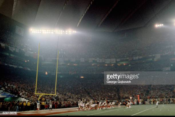 The Cincinnati Bengals face the San Francisco 49ers in Super Bowl XVI in the Pontiac Silverdome on January 24 1982 in Pontiac Michigan near Detroit...