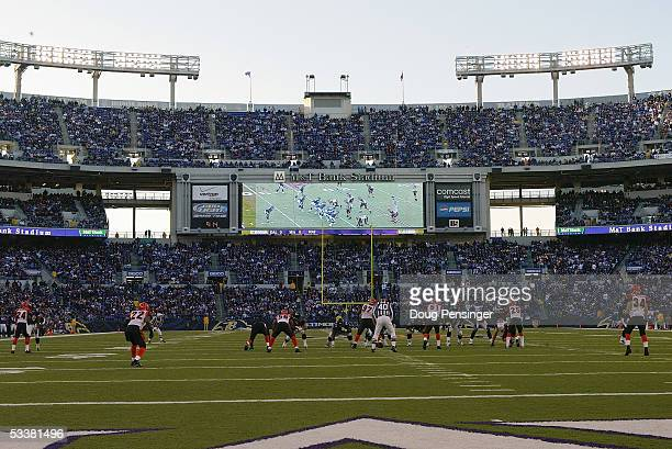 The Cincinnati Bengals play against the Baltimore Ravens at MT Bank Stadium on December 5 2004 in Baltimore Maryland The Bengals defeated the Ravens...