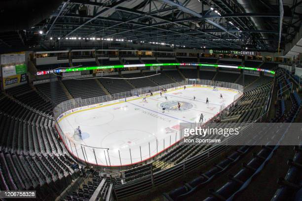 The Cincinnati Cyclones and the Toledo Walleye play in an empty arena during a regular season ECHL hockey game on March 11 2020 at the Huntington...