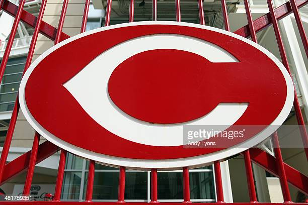 The Cincinnati Reds logo on a stadium gate before the Cincinnati Reds game against the St Louis Cardinals on Opening Day for both teams at Great...
