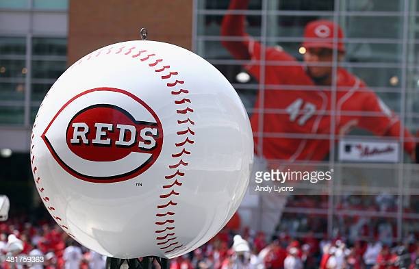 The Cincinnati Reds logo on an oversized baseball in front of the stadium before the Cincinnati Reds game against the St Louis Cardinals on Opening...