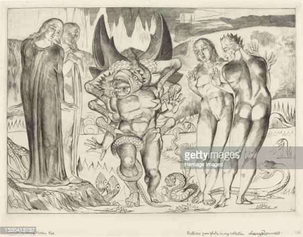 The Circle of the Thieves; Agnolo Brunelleschi Attacked by a Six-Footed Serpent, 1827. Artist William Blake.
