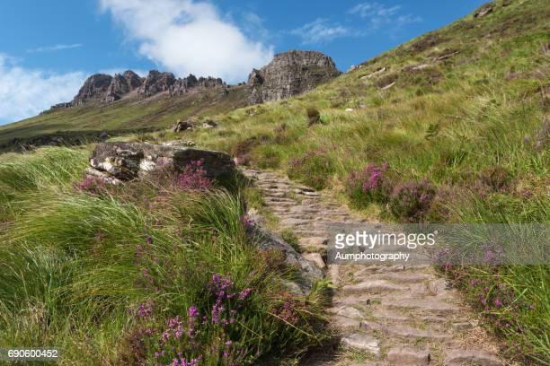 The circular walk climbs at Stac Pollaidh, highland, Scotland.