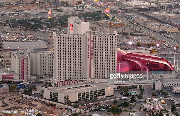 The Circus Circus hotelcasino is seen from the observation deck of the Stratosphere Casino Hotel November 29 2005 in Las Vegas Nevada