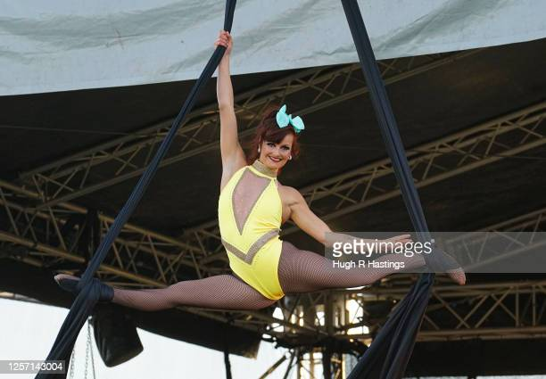 The circus performers show their skills on the opening night of Britain's first ever drivein circus performed by The Paulos Circus on July 19 at...