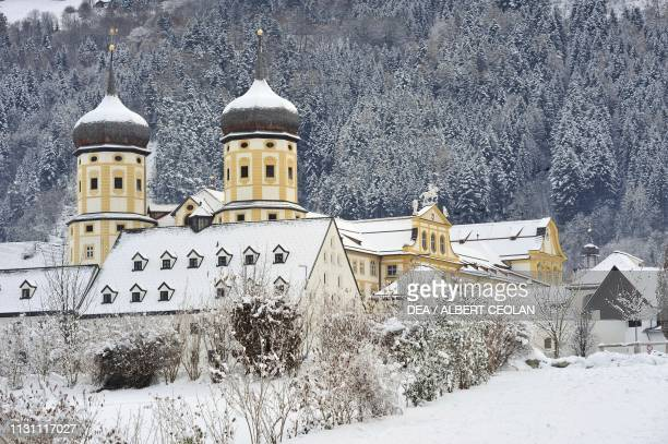 The Cistercian Abbey of Stams in the snow, Tyrol, Austria, 13th-18thcentury.