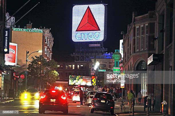 The Citgo sign in Kenmore Square seen from Brookline Avenue near Fenway Park after a Red Sox game July 27 2016