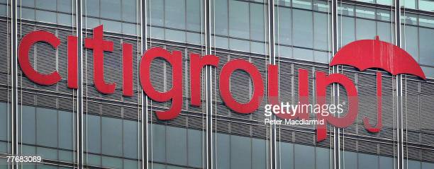 The Citigroup logo on the side of the bank's headquarters at London's Docklands on November 5 2007 in Canary Wharf London England Chairman and chief...