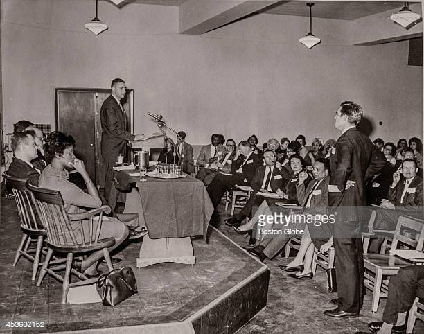The Citizen Seminar at Boston College on March 9 1966 Herbert Gleason speaks at the podium