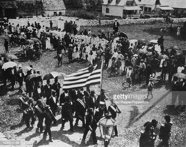 The citizens of Monrovia celebrate the Liberian Independence Day on 26th July circa 1910