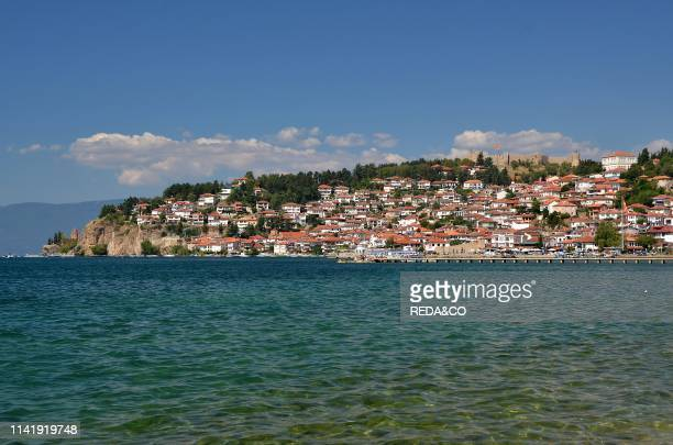 The city and Castle at Ohrid above Lake Ohrid Macedonia Europe