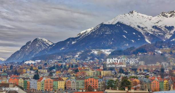 The city and the Alps are seen from the City Tower on January 28 2018 in Innsbruck Austria
