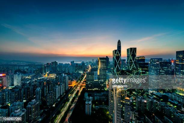 the city at night - shenzhen stock pictures, royalty-free photos & images