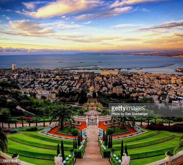 the city beneath - haifa stock pictures, royalty-free photos & images