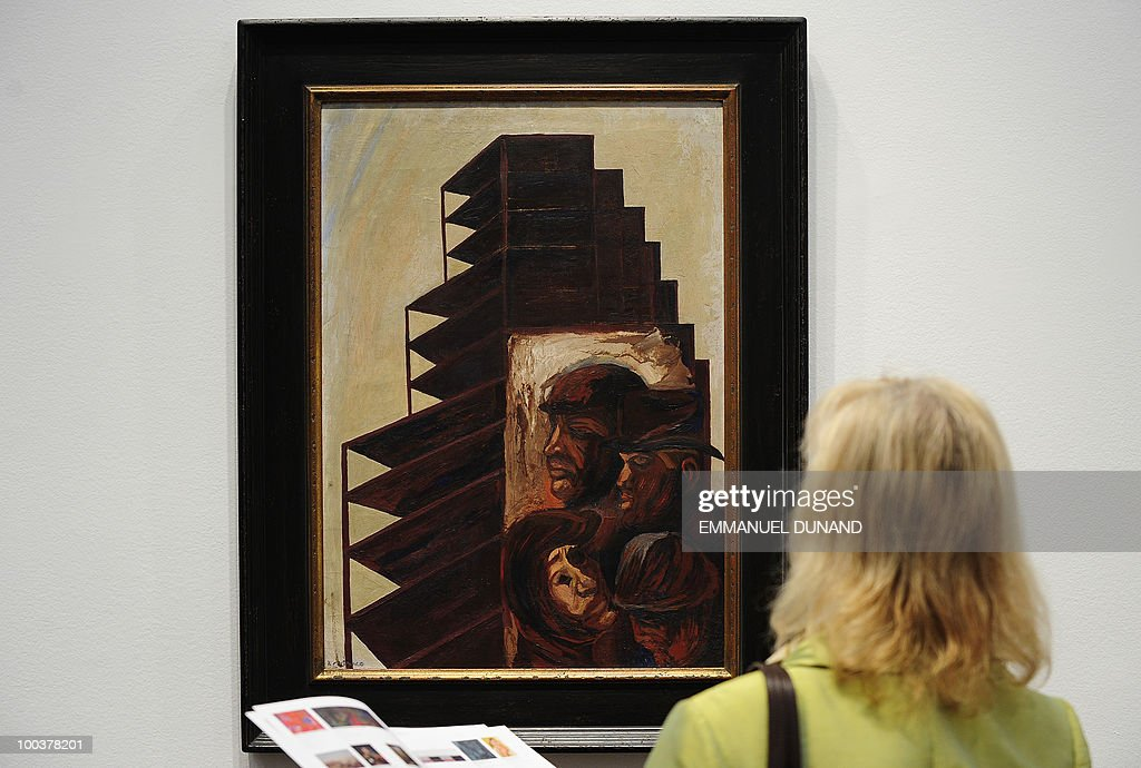 'The City' by Jose Clemente Orozco is on display during a preview of Christie's Latin American Art auctions, May 24, 2010 in New York. Christie's will hold its Latin American Art auctions on May 26 and 27, 2010. AFP PHOTO/Emmanuel Dunand