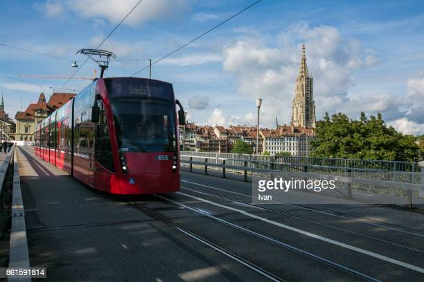 The City Center of Bern with and Light Rail, Train