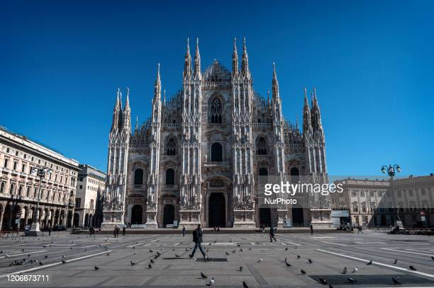The city center of Milan is completely deserted after the order to stay home to try to slow down the infection of the Corona Virus Around mostly...