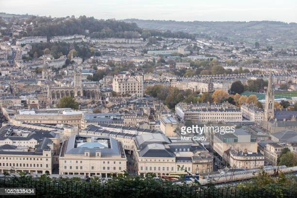 The city centre of Bath is pictured on October 23, 2018 in Bath, England. The historic city of Bath, a UNESCO World Heritage site, is considering...