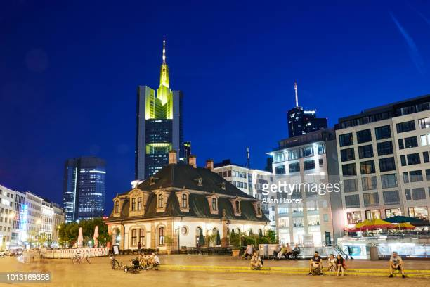 The city centre of Frankfurt illuminated at night