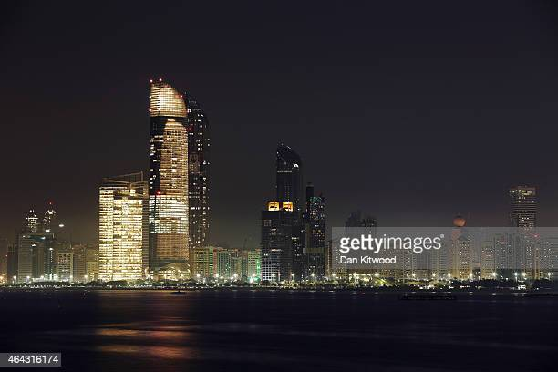 The city centre rises above the Corniche on February 4 2015 in Abu Dhabi United Arab Emirates Abu Dhabi is the capital of the United Arab Emirates...