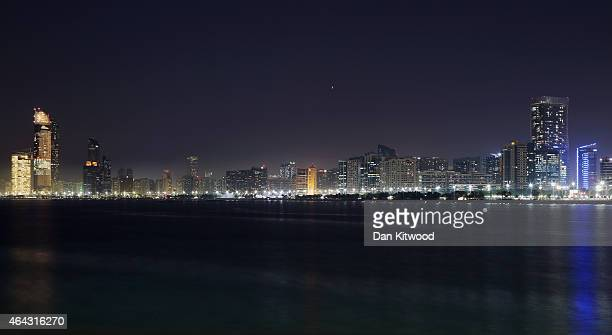 The city centre rises above the Corniche on February 4 2015 in Abu Dhabi United Arab Emirates Abu Dhabi is the capital of the United Arab Emirates...