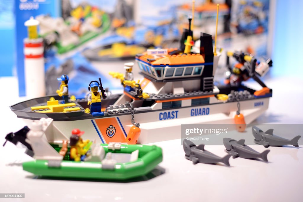 The City Coast Guard Lego set, named one of the must-have toys for Christmas 2013, is unveiled today at the Dream Toys Fair at St Mary's Church on November 6, 2013 in London, England.
