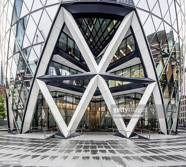 The City, detail of Swiss Re Tower (known also as 30 St Mary Axe or The Gherkin) (Norman Foster architect)
