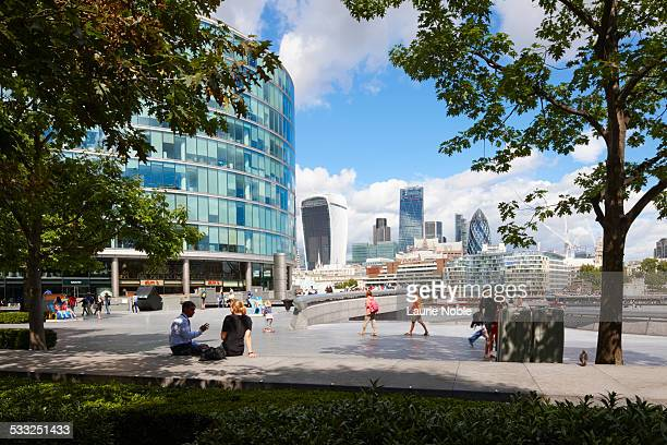 the city from more london estate, south bank - incidental people stock pictures, royalty-free photos & images