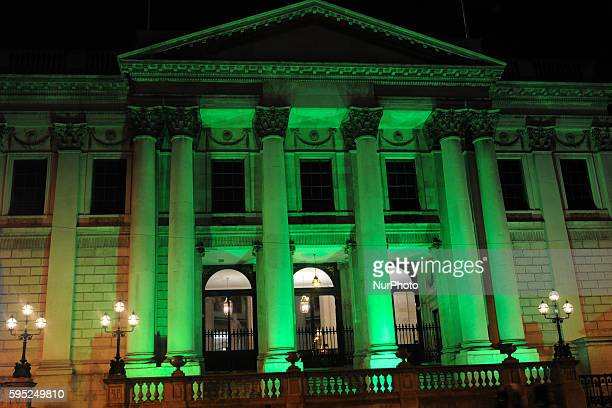 The City Hall building in Dublin goes green for St Patrick's Day Dublin Ireland on Wednesday 16 March 2016