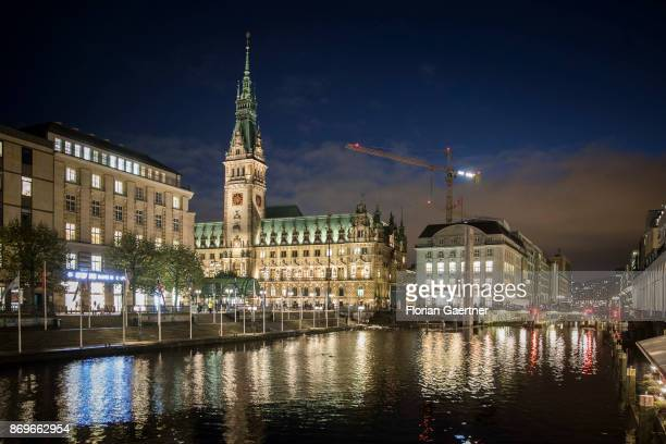 The City Hall of Hamburg is pictured in the evening on November 02 2017 in Hamburg Germany