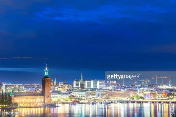 The City Hall (Stadshuset) with night city view in Stockholm, Sweden