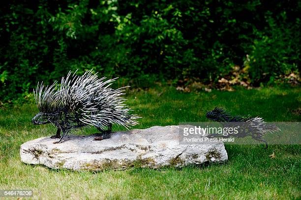 The city is investigating a possible tampering incident with this porcupine sculpture by Wendy Klemperer on the access road to the Portland Jetport...