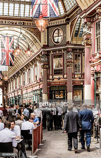 the city, leadenhall market, people at lunch time - leadenhall market stock photos and pictures