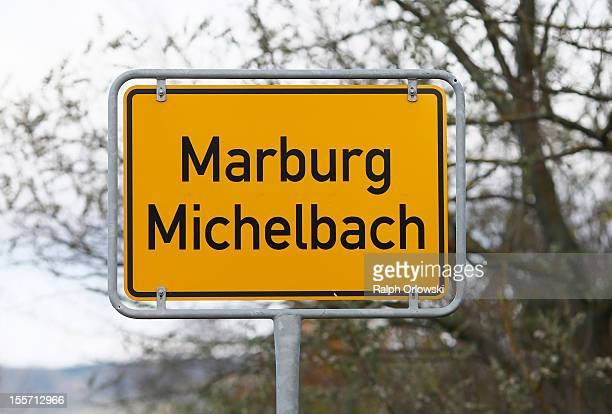 The city limit sign of Marburg Michelbach where accused Russian spies with the aliases Andreas and Heidrun Anschlag last lived is pictured on...