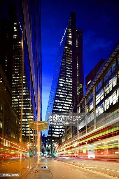 The City - London's financial district with brand new skyscraper Leadenhall Building and traffic trails at Leadenhall Street seen at twilight.