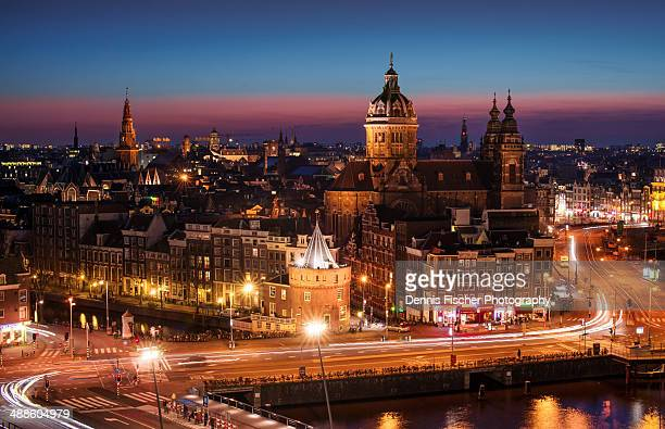 The city of Amsterdam at night from above