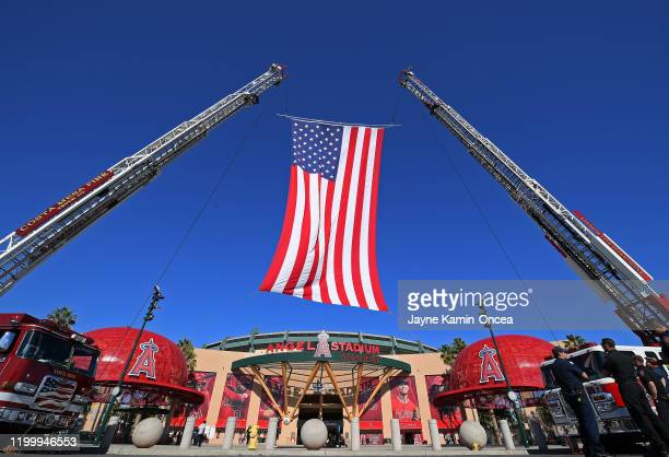 The City of Anaheim fire department displays the America Flag as fans arrive for a memorial service honoring baseball coach John Altobelli his wife...