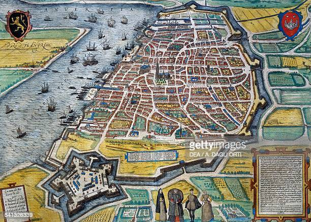The city of Antwerp engraving from Civitates Orbis Terrarum by Georg Braun and Franz Hogenberg active in Cologne Belgium 16th century Genoa Pegli...