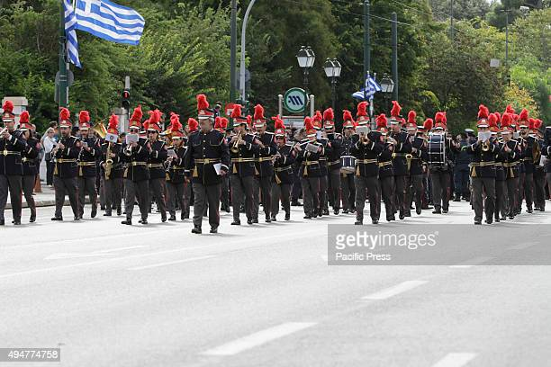 SQUARE ATHENS ATTICA GREECE The City of Athens' Marching band marches in the 'Oxi Day' parade in Athens School students marched in Athens in the 'Oxi...