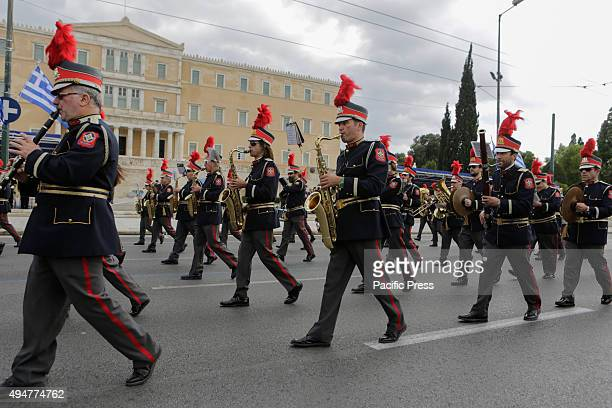 SQUARE ATHENS ATTICA GREECE The City of Athens' Marching band marches past the Greek Parliament and the review stands in the 'Oxi Day' parade in...